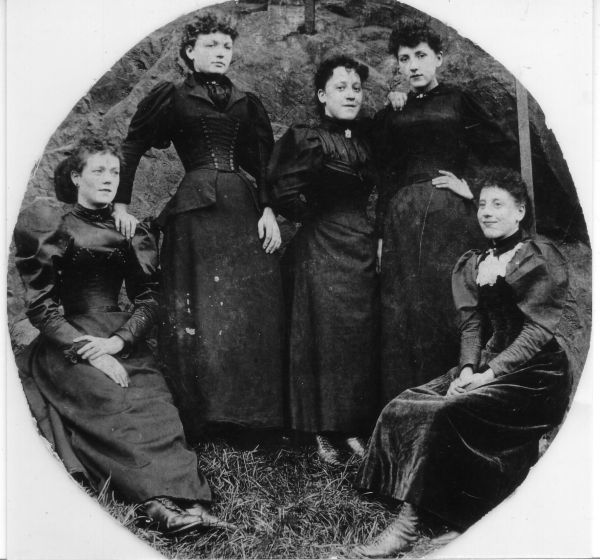 Portrait Workers From Waterstons Stationers At Foot Of Castle Rock, late 1890s