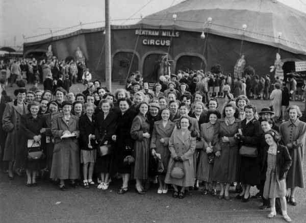 Visitors To Bertram Mills circus, early 1950s