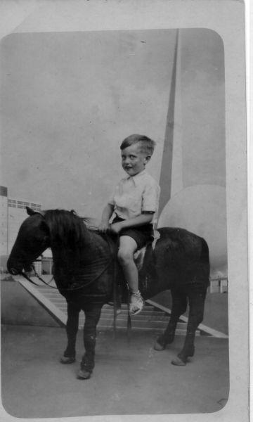 Studio Portrait Young Boy Sitting On Stuffed Pony 1930s