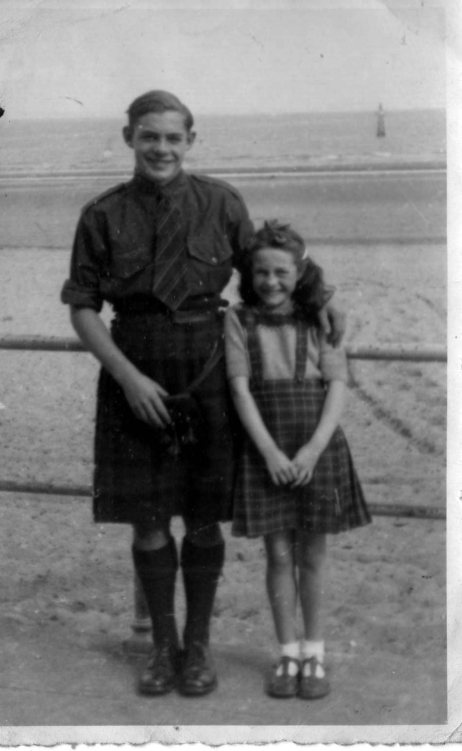 Brother And Sister On Portobello Promenade Opposite Their Home At 9 Promenade Terrace c.1950