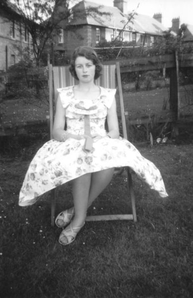 Young Woman Sitting In Deckchair In Back Green At 39 Northfield Crescent 1959