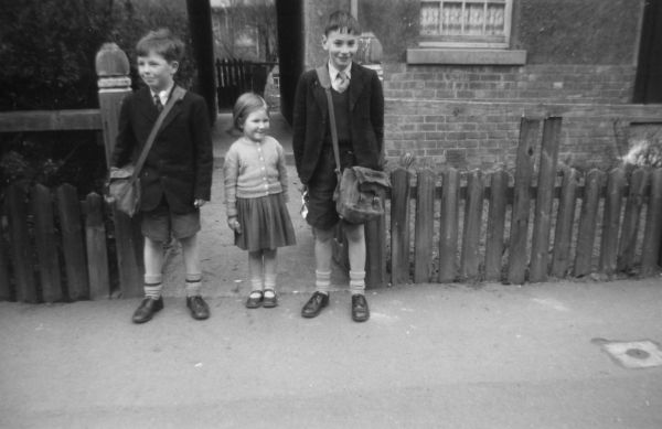Two Schoolboys And Young Girl c.1957