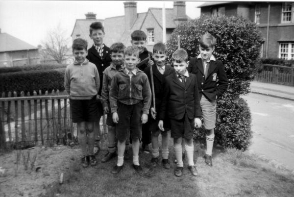 Young Gang Of Boys Standing At Corner Of Garden At 39 Northfield Crescent c.1958