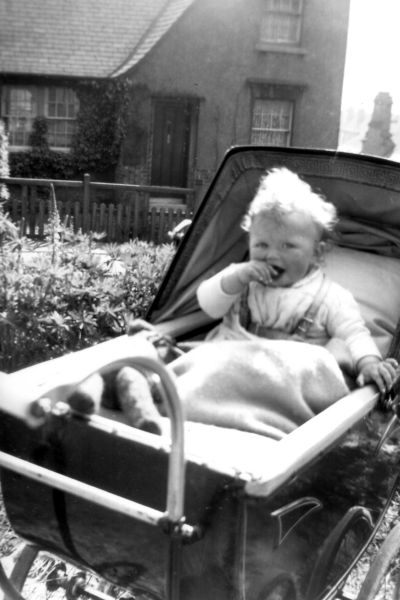 Young Child Sitting In Pram Outside Her Home At 39 Northfield Crescent c.1943