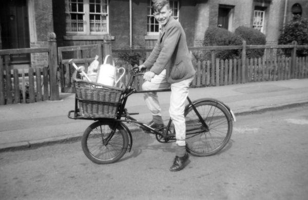 Teenage Boy Delivering Messages On Bike Outside 42 Northfield Crescent c.1960