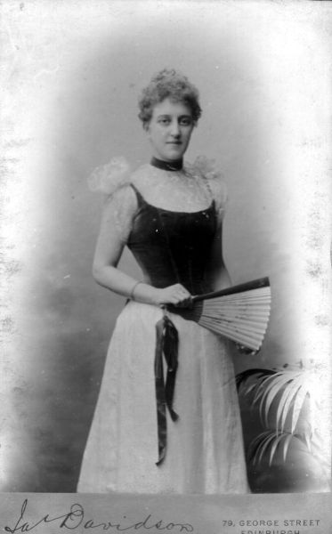 Studio Portrait Lady With Fan c.1900