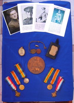 Photo shows Albert, George, James and John Dick images. Albert's 'dog-tags and 'that' bullet. War medals of William (left) and John (right). John's 'Dead Man's Penny'