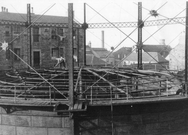 Ongoing Demolition Of Gasometer In Pipe Street, Portobello, late 1950s