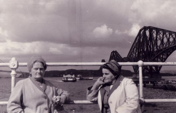 Day trip to South Queensferry with the ferry Mary Queen of Scots approaching c.1959