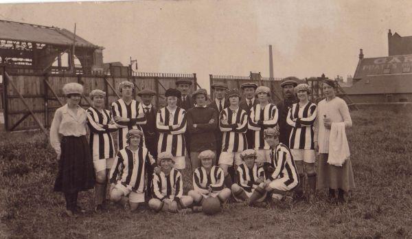 Portobello Thistle Ladies Football Team At Woods (Bottlesworks) Park c.1918