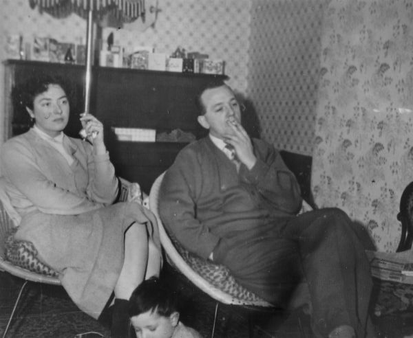 Smoking In Living Room On Modern Chairs At 19 Milton Street, December 1960