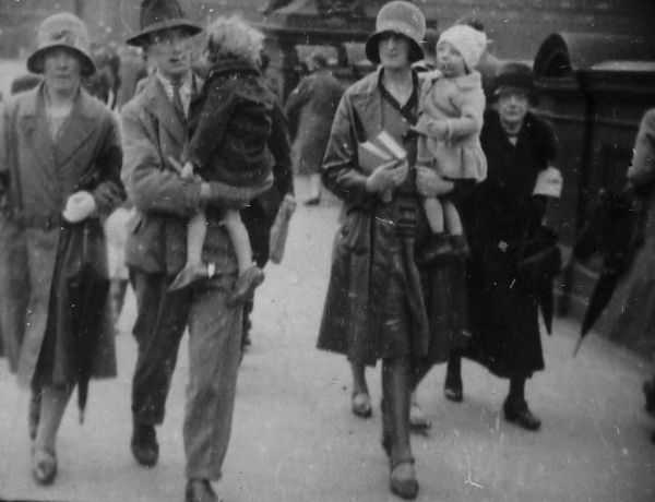 Pedestrians Walking Along North Bridge 1930s