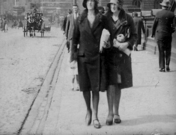 Ladies walking along North Bridge c.1930