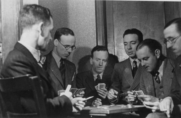 Men Playing Cards On New Year's Day 1940