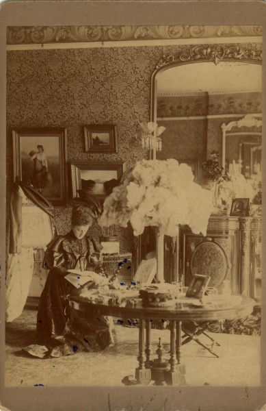 Victorian Lady At Leisure In Drawing Room At 9 Claremont Park c.1900