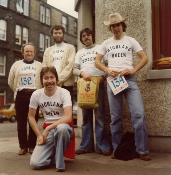 Group Of Men Gathered On Marionville Road Ahead Of A Sunday Sponsored Walk 1985