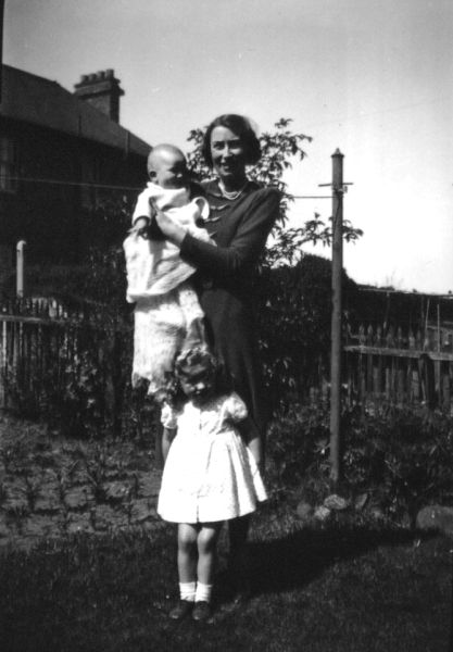 Young Family In Their Back Garden At 39 Northfield Crescent, early 1945