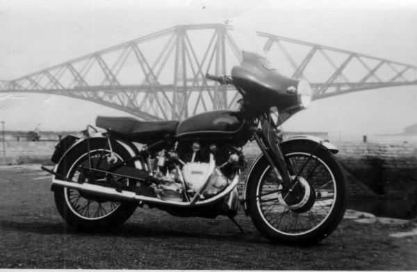 Norton Motorcycle By Forth Bridge, August 1954