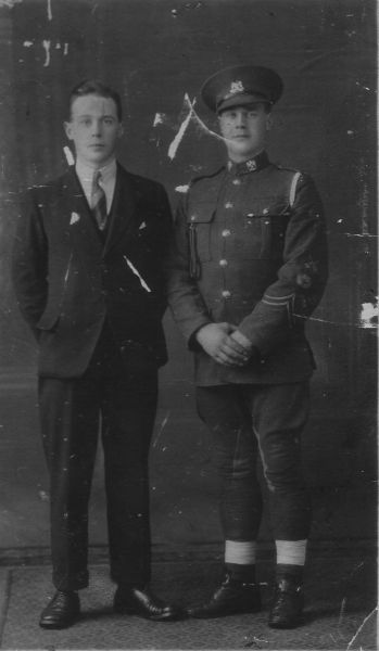 Studio Portrait Soldier Of The Royal Scots Greys And Friend, February 1925