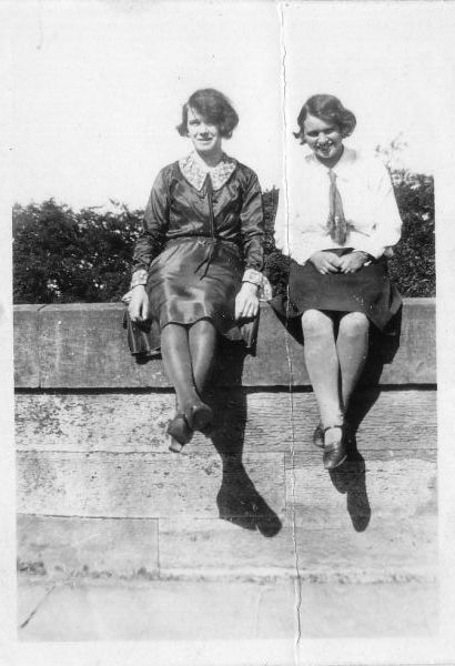 Two Friends Sitting On Wall At Cramond, August 1925