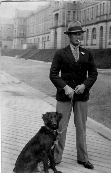 Smartly Dressed Soldier In Civvies On Leave With His Dog, late 1920s
