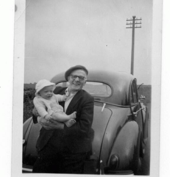 Happy Grandfather With His Baby Grandson 1959