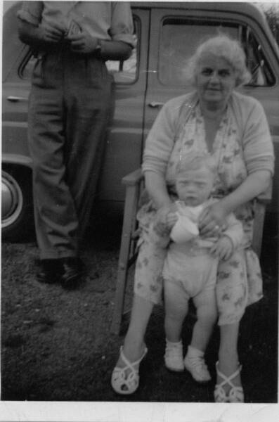 Grandmother With Her Grandson At Croy Shore 1960