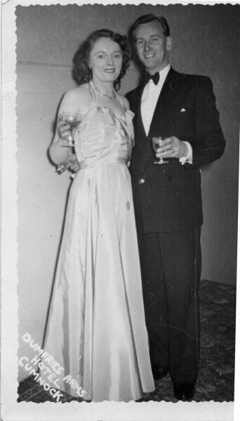 Young Couple At A Dinner Dance In The Dumfries Arms Hotel c.1950