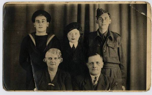 Studio Family Portrait Before Going Off To Serve In The Forces c.1942