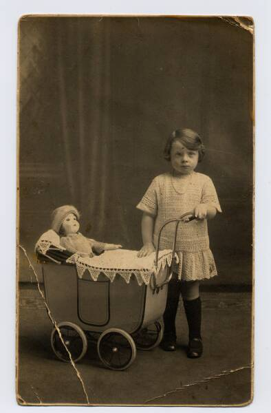 Studio Portrait Young Girl With Doll And Pram 1928