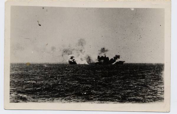 Ship Exploding After Bomb Strike c.1939