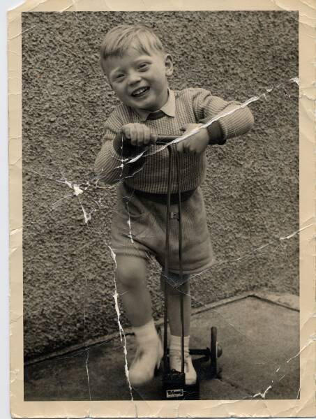 Young Boy With Scooter 1961