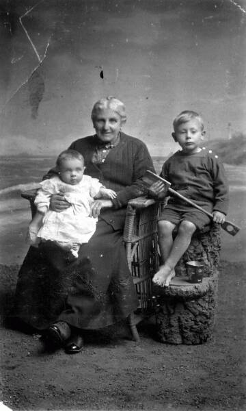 Studio Portrait Grandmother With Her Two Grandsons 1926