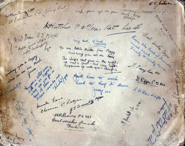Signatures On Reverse Of Photograph Of Women's Royal Naval Service Air Mechanics c.1943