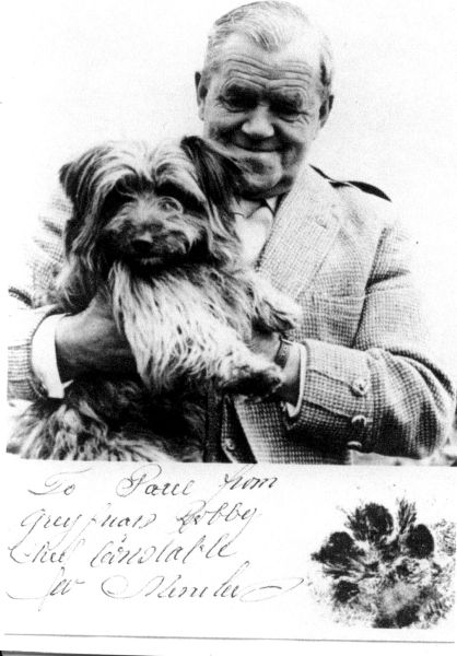 Willie Merriless With The Canine Star of Walt Disney's 'Greyfriars Bobby' 1961