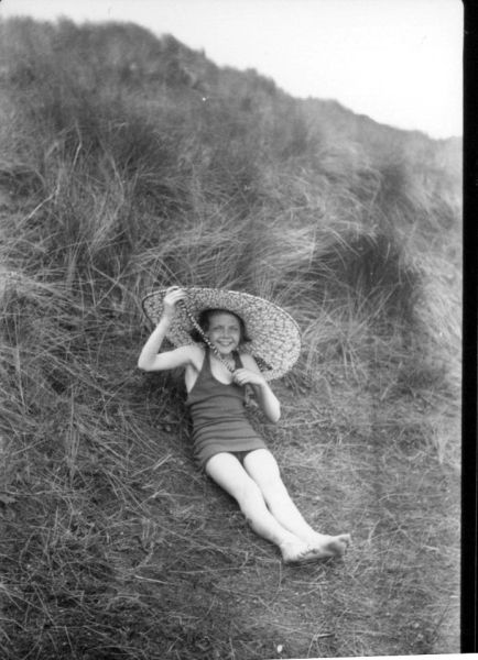 Young Bather Wearing Large Sunhat c.1937