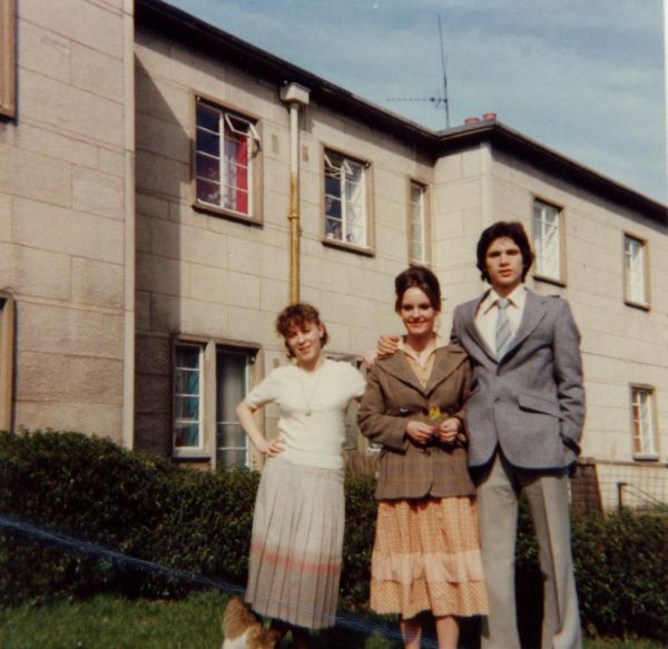 Two Sisters And Friend In Back Garden Of Their Home At 140 Mountcastle Drive South c.1978