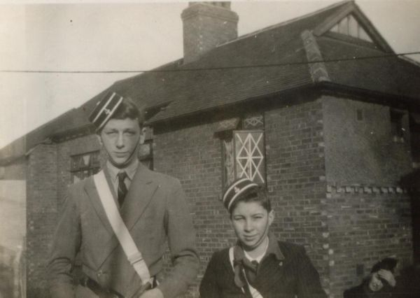 Two BB Members Outside The Boys Brigade Hall 1940s