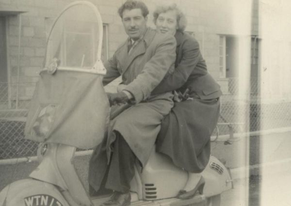 Couple On Moped 1950s