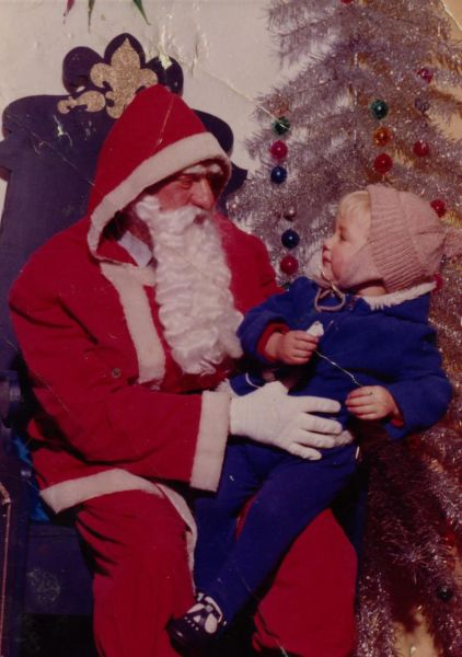 Father Christmas In Large Department Store With Child 1960s
