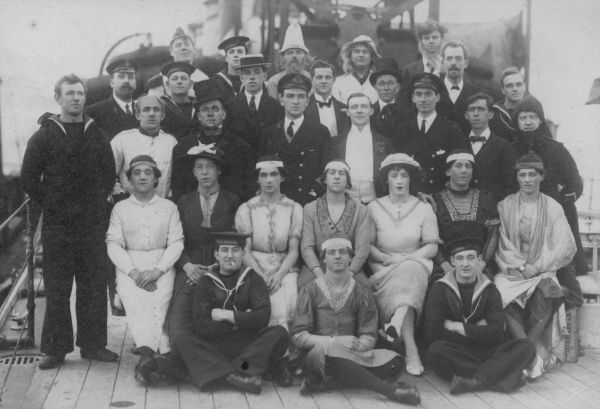 Ship's Crew Dressed Up In Tradition For Crossing The Equator 1914-18