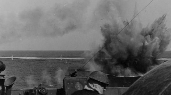 Ship At Sea Under Attack 1940s