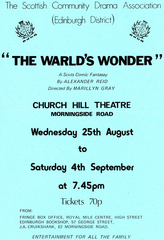 The Warld's Wonder, 1976 flyer