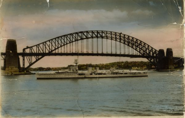 HMS Danae In Sydney Harbour 1924