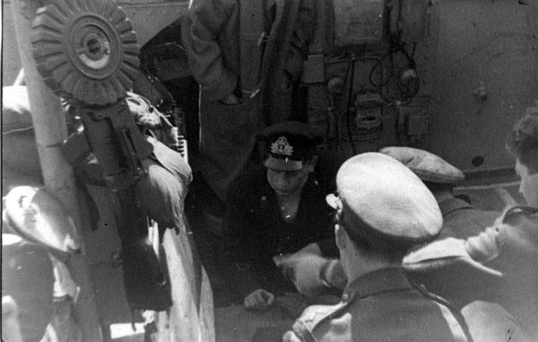 Officers Discussing Operations On Board Vessel 1940s