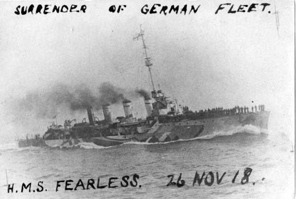 HMS Fearless As Taken From German Vessel About To Be Boarded 26th Nov 1918