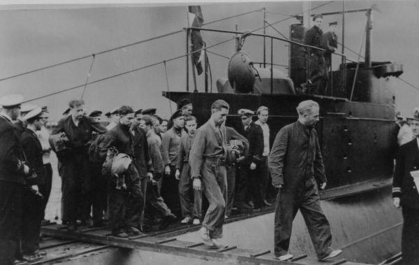 Prisoners Being Escorted Off Submarine 1940s