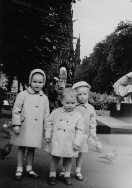 Sisters And Brother Among The Pigeons In East Princes Street Gardens, early 1960s
