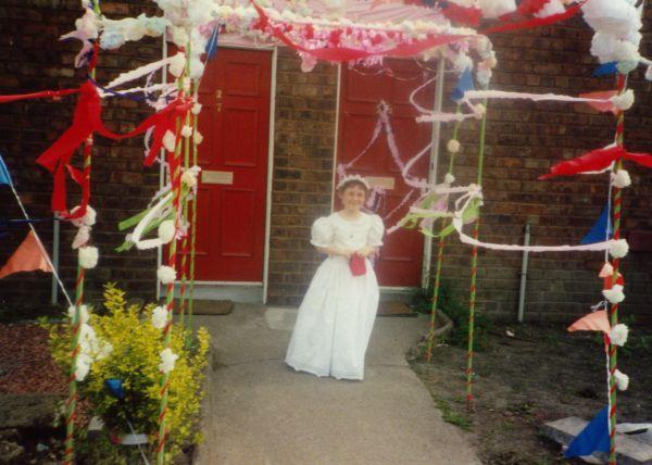 Newtongrange Gala Queen Attendant Standing Outside Door Of 26 Main Street c.1988