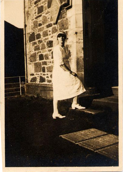 Girl Standing On Steps In Confirmation Dress, August 1924